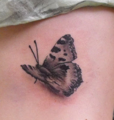 Grey Butterfly 3D Tattoo