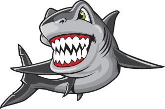 Grey Cartoon Shark Tattoo Stencil