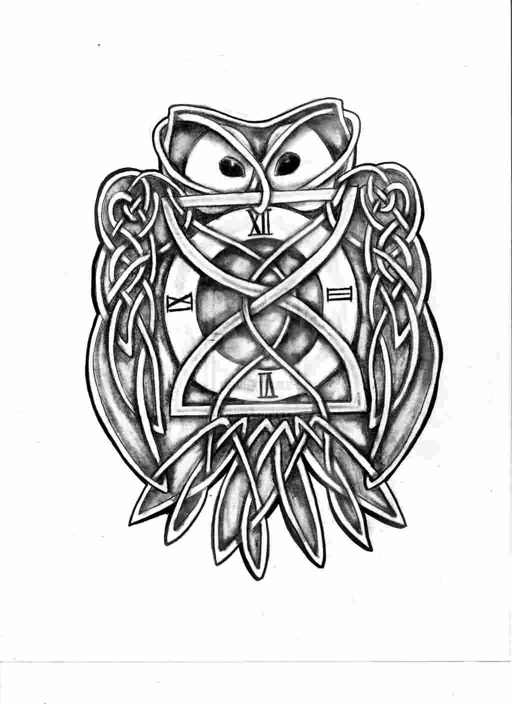 Grey Celtic Owl Tattoo Design