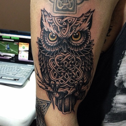 Grey Celtic Owl Tattoo