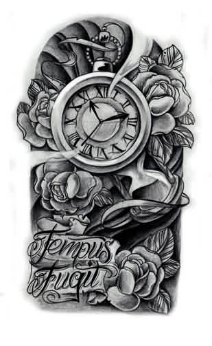 Grey Clock And Roses Sleeve Tattoos Design