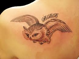 Grey Flying Owl Tattoo On Left Back Shoulder