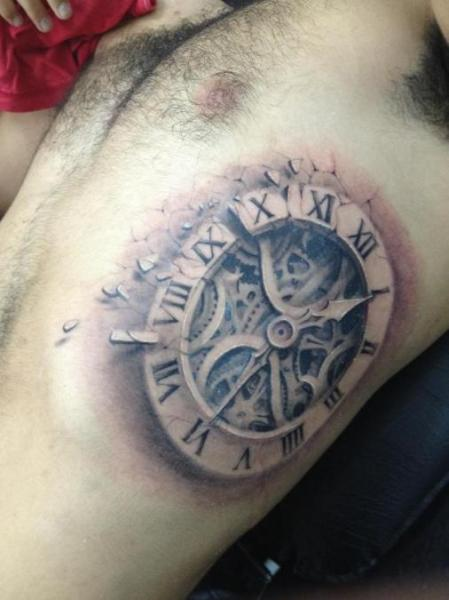 Grey Ink 3D Realistic Clock Tattoo On Side Of Rib