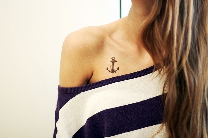 Grey Ink Anchor Tattoo On Collarbone For Girls