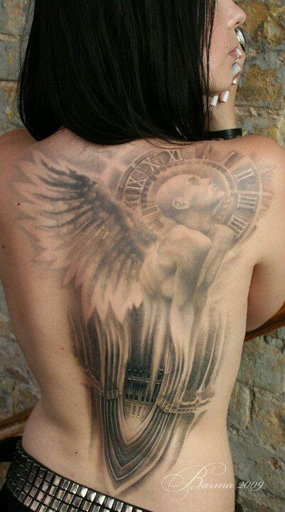 Grey Ink Angel Clock Tattoo On Right Shoulder Back