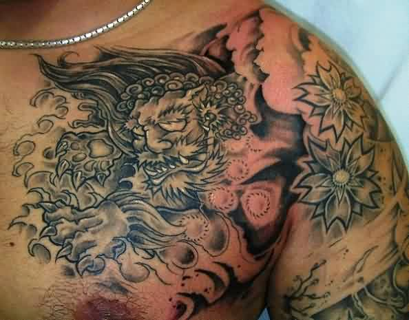 Grey Ink Asian Wave Tattoo On Chest