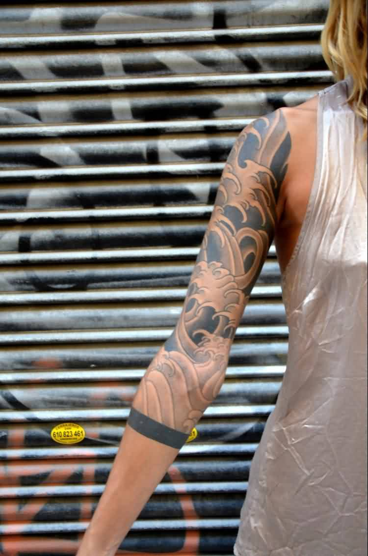 Grey Ink Asian Waves Tattoos On Sleeve