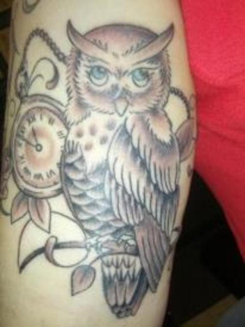 Grey Ink Clock And Owl Tattoos