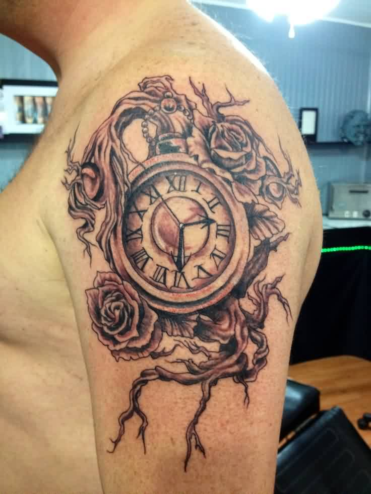 Grey Ink Clock And Rose Tattoos On Shoulder