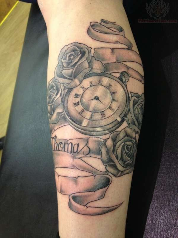 Grey Ink Clock And Rose Tattoos