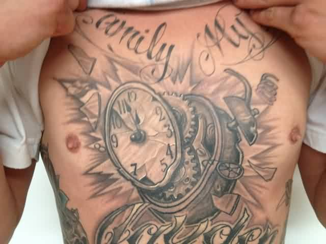 Grey Ink Clock Gears Tattoo On Chest