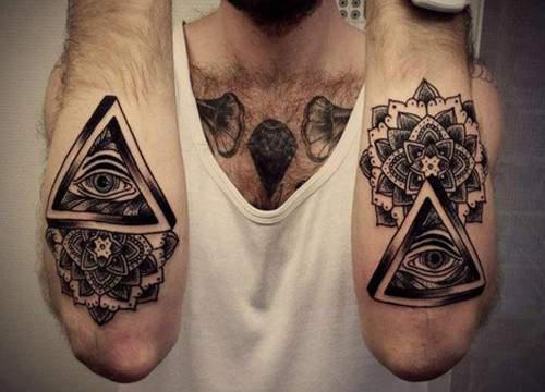 Grey Ink Eye Triangle And Mandala Flower Tattoos