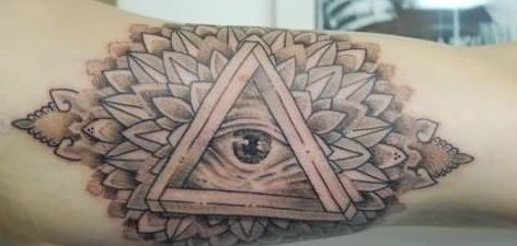Grey Ink Eye Triangle And Mandala Tattoos