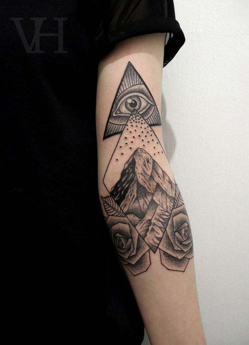 Grey Ink Eye Triangle And Rose Tattoos On Arm