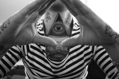 Grey Ink Eye Triangle Tattoo On Neck