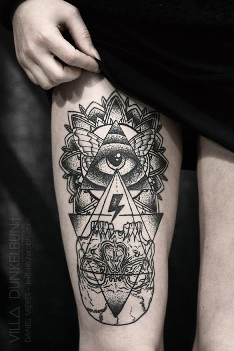 Grey Ink Eye Triangle Tattoo On Thigh For Girls