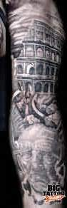 Full Sleeve Grey Ink Roman Warriors Tattoos