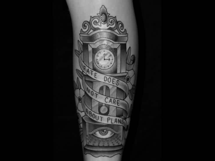 Grey Ink Grandfather Clock Tattoo