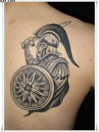 Grey Ink Greek Warrior Tattoo On Back Shoulder