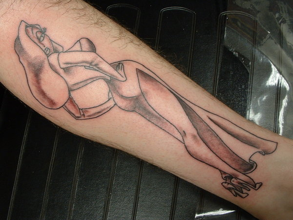 Grey Ink Hot Jessica Rabbit Tattoo For Men