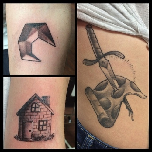 Grey Ink Knife In Pizza Tattoo On Hip