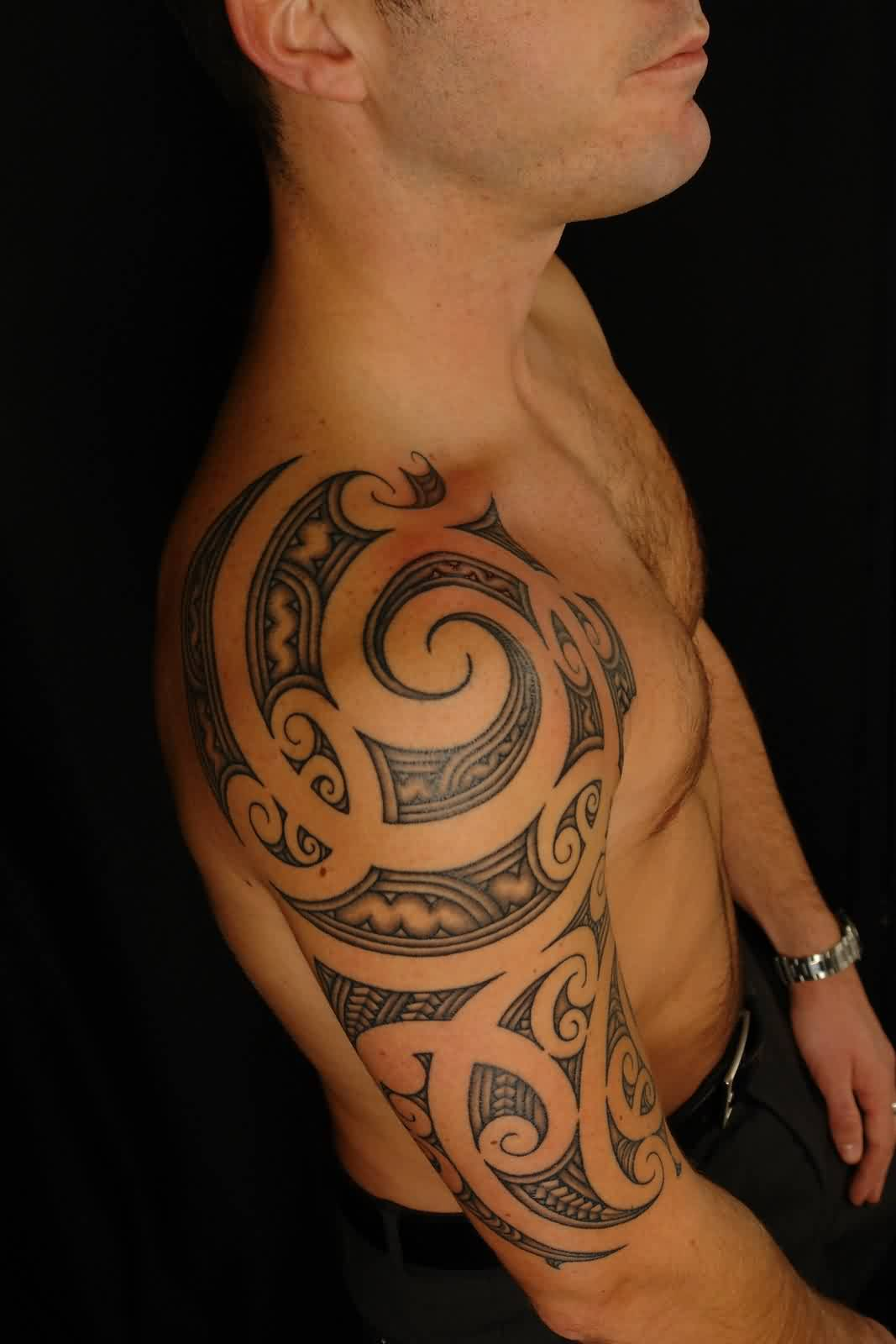Grey Ink Maori Polynesian Half Sleeve Tattoo Style For Men