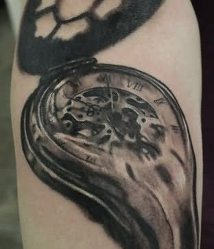 Grey Ink Melting Clock Tattoo