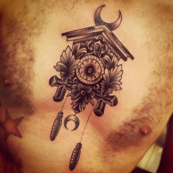 Grey Ink Moon And Cuckoo Clock Tattoos On Chest