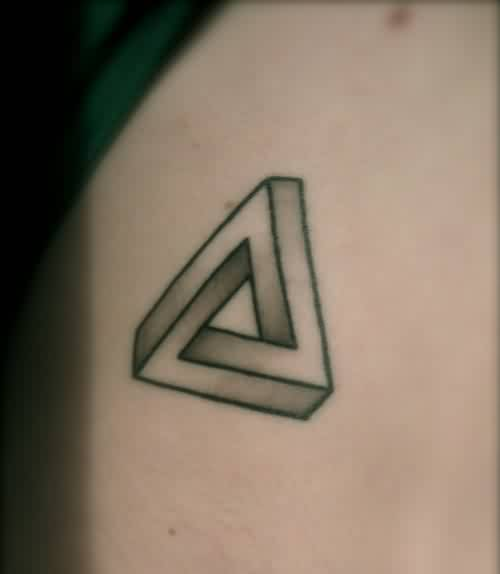 Grey Ink Penrose Triangle Tattoo For Men
