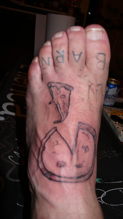 Grey Ink Pizza Tattoos On Foot