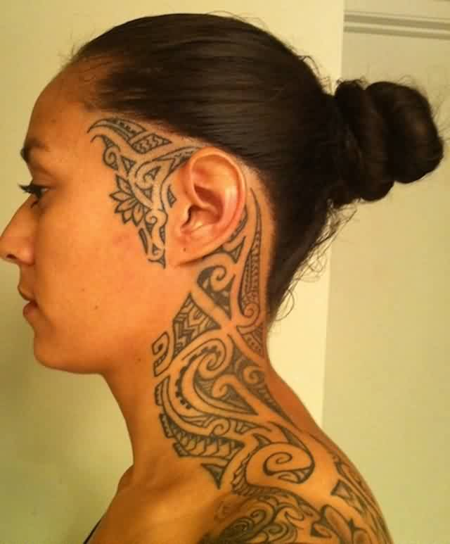 Grey Ink Polynesian Tattoos On Face And Neck For Women