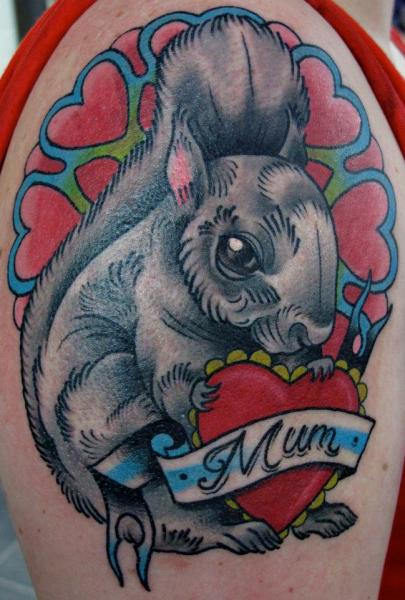 Grey Ink Rabbit With Mum Heart Tattoo On Shoulder