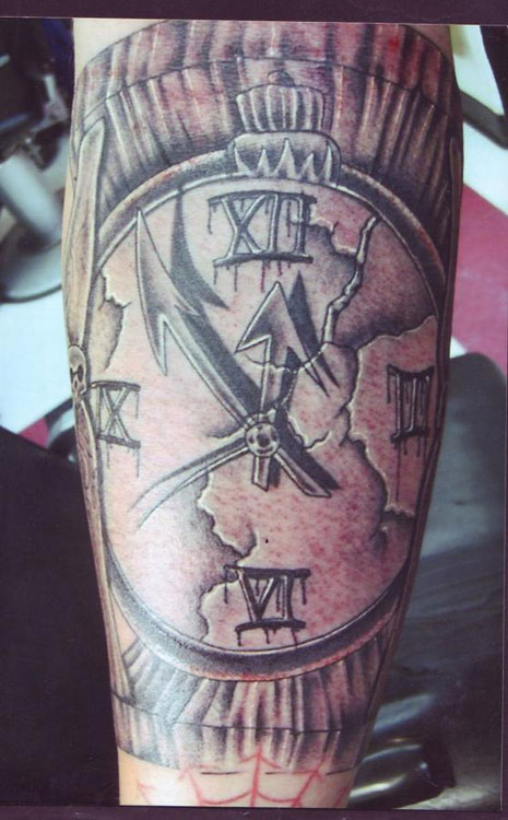 Grey Ink Realistic Broken Clock Tattoo
