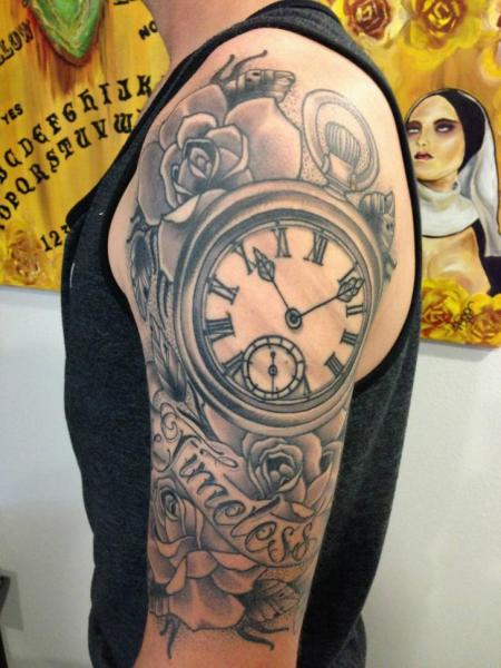 Grey Ink Rose And Clock Tattoos On Half Sleeve