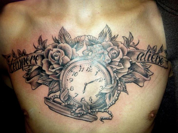 Grey Ink Roses And Clock Chestpiece Tattoos