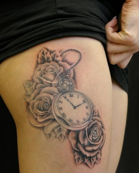 Grey Ink Roses And Clock Tattoos On Thigh