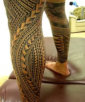 Grey Ink Samoan Polynesian Leg Sleeve Tattoos