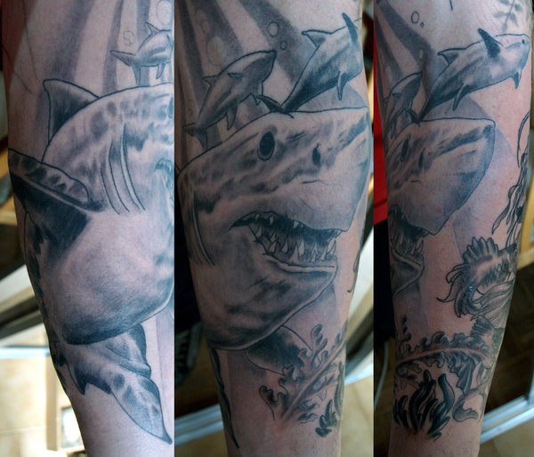 Grey Ink Shark Tattoos