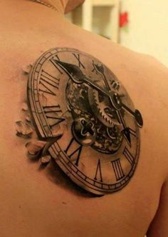 Grey Ink Steampunk Clock Tattoo On Right Back Shoulder