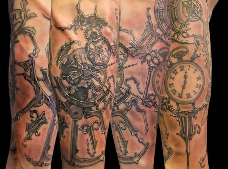 Grey Ink Steampunk Clocks Tattoos