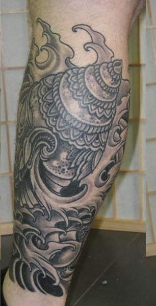 Grey Ink Tibet Shell Waves Tattoos