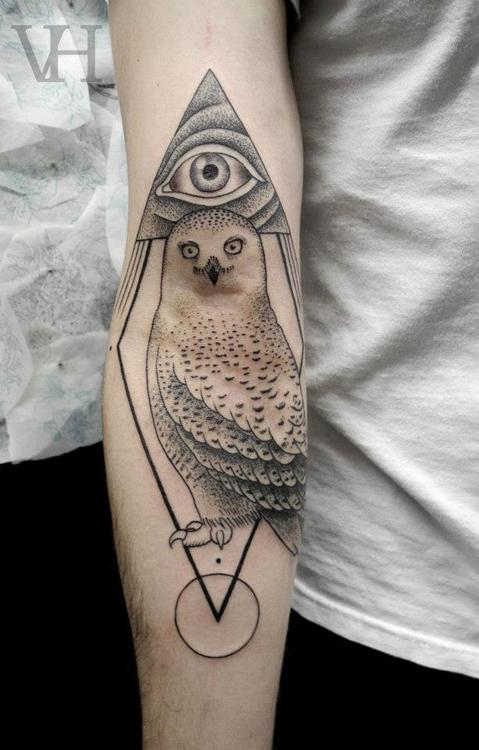 Grey Ink Triangle Eye And Pigeon Tattoos On Arm