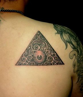 Grey Ink Triangle Eye Tattoo On Back Of Shoulder