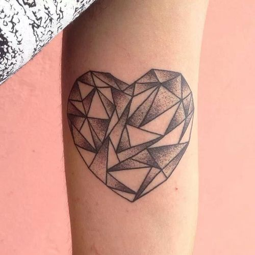 Grey Ink Triangles Heart Tattoo On Arm