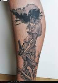 Grey Ink Warrior Tattoo On Leg