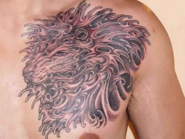 Grey Ink Wave Lion Tattoo On Chest For Men