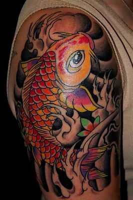 Grey Ink Waves And Koi Fish Tattoos On Half Sleeve