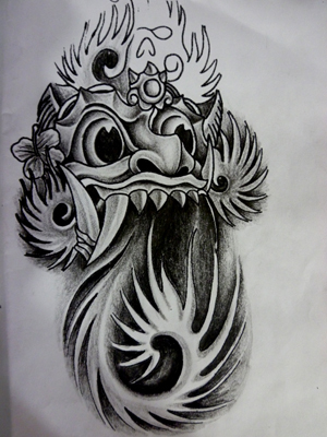 Grey Japanese Mask Waves Tattoo Design