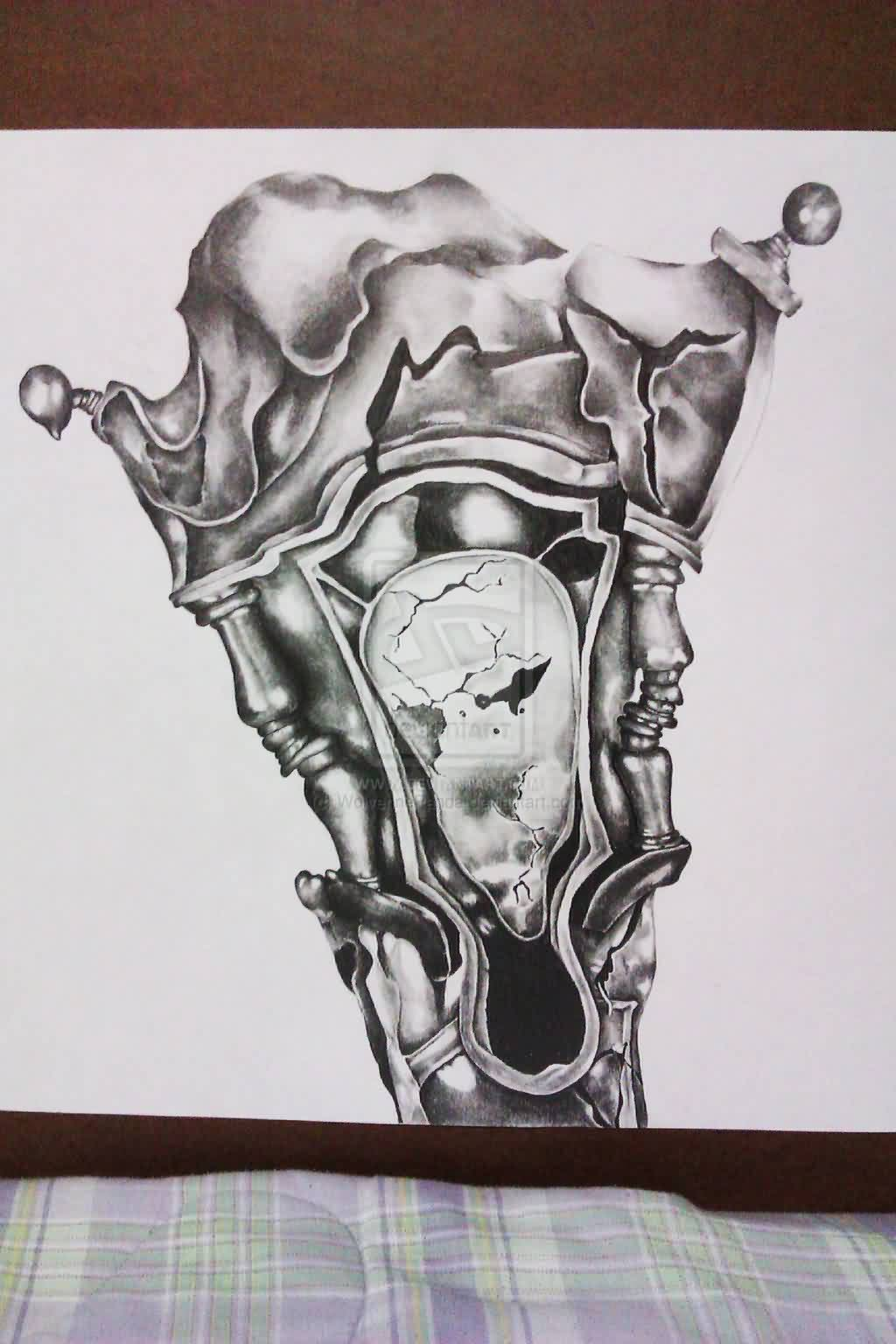 Grey Melting Clock Tattoo Design Page