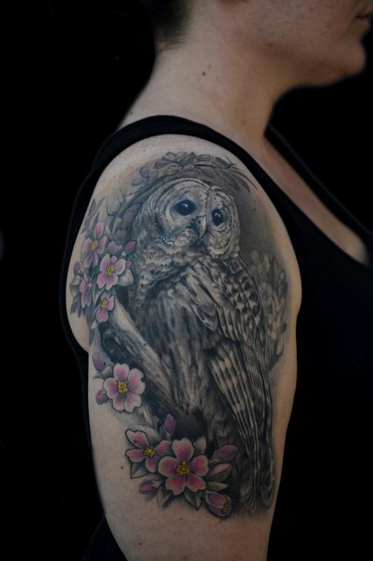 Grey Owl And Cherry Blossom Half Sleeve Tattoos